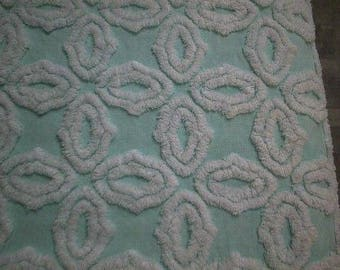 "Hofmann AQUA with White SNOWFLAKES Vintage Chenille Bedspread Fabric - 21"" X 24"""