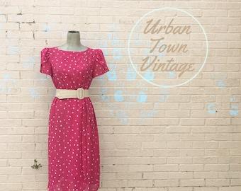 Vintage 1990s Fuchsia Pink Floral Dress (Size Medium)
