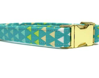 Teal Triangles Dog Collar | Your choice of metal buckle or plastic buckle | Blue Dog Collar | Geometric Dog Collar | Boy Dog Collar