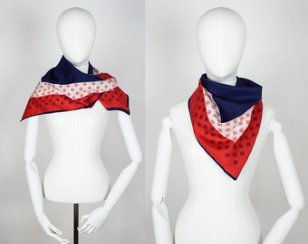Vintage Geometric Silk Scarf / 60s Red White and Blue Scarf / Square Vintage 1960s Scarf / 60s Geometric Scarf / Summer 60s Scarf/ Red Scarf