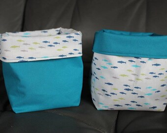 Set of two small fabric baskets