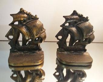 Vintage Cast Iron Nautical Galleon Sailing Ships bookends bronze bookends gold bookends vintage bookends men bookends boys bookends iron