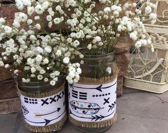 Mason Jar Wrap, Arrows, Feathers, Tribal, Boho Chic, Mason Jar Decoration, Baby Shower, Party, Wedding Decoration