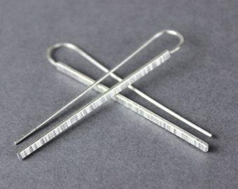 Linear Dangle Earrings, Silver Threaders, Satin Finish, Minimalist Jewelry, Stick Earrings