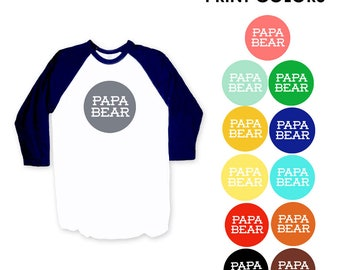 Papa Bear Navy Blue Raglan Sleeve Baseball TShirt - Expecting, New Baby, Father's Day, Gift for Dad, Announcement