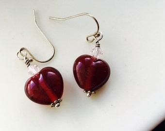 Red Heart Earrings, Heart Earrings, Glass and Crystal Earrings,