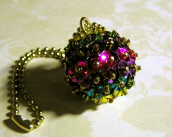 The Colors of India Sequined and Beaded Ball Ornament - Made to Order - Small Beads and Sequins Round Hanging Decoration - Christmas Decor