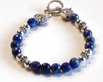 BLUE LAPIS LAZULI Women's stackable bracelet, stacking bracelet, statement bracelet, beaded bracelet