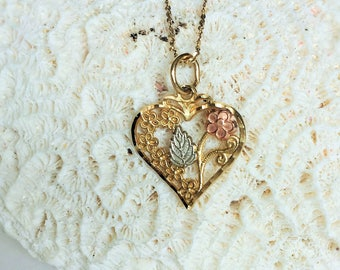 "Black Hills Gold, Heart Pendant With 14k 20"" Chain"