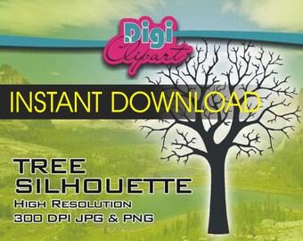 Tree Silhouette Fingerprint Tree - Clip Art - INSTANT DOWNLOAD
