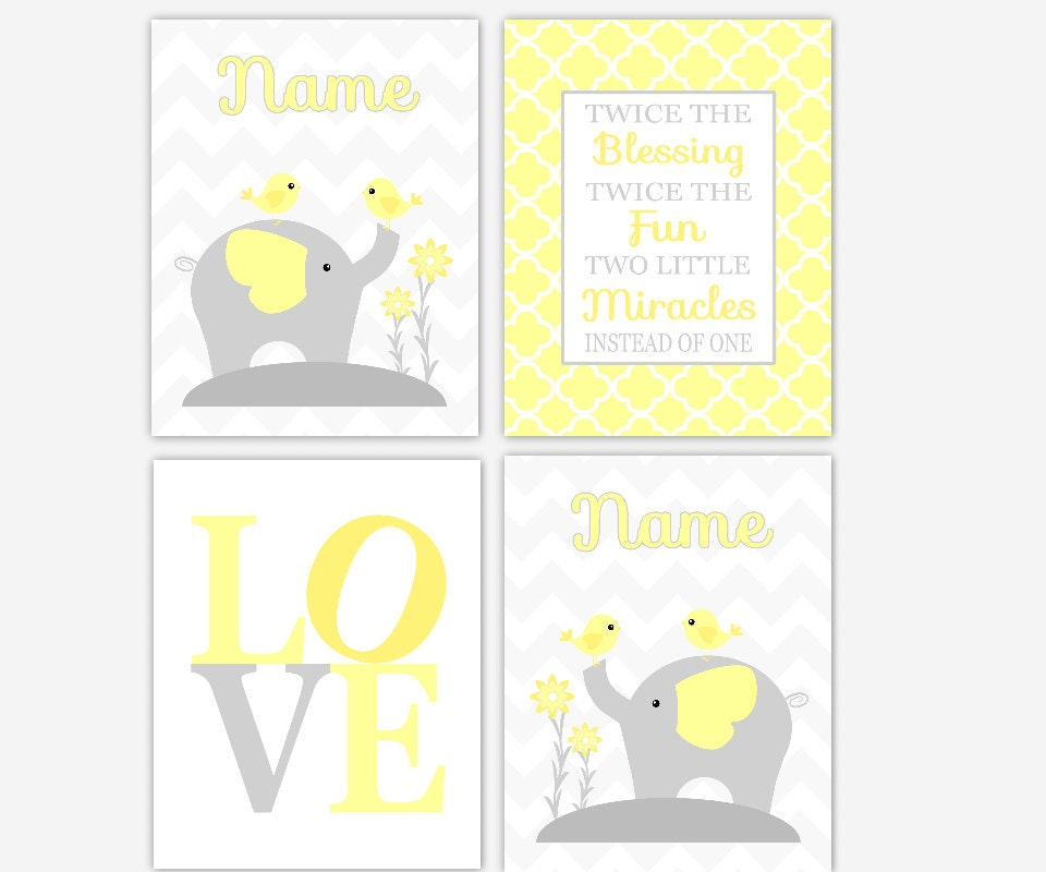 Twins Baby Nursery Wall Art Gray Yellow Elephant LOVE Twins