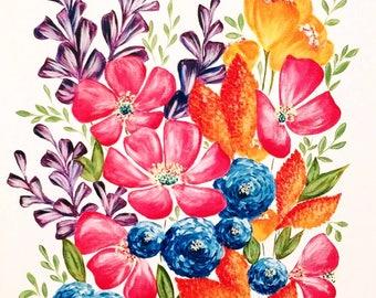 Whimsical flowers acrylic painting - art print, wall art