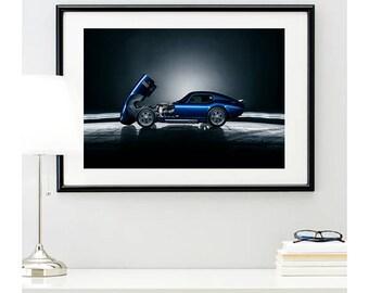 Blue Shelby Daytona Side Profile, automotive photography, automotive prints, car photography, car prints, american muscle, @richardlephoto