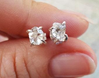 Herkimer Diamond Earrings, Herkimer Earrings, Diamond Earrings, Sterling Silver Earrings, Tiny Stud Earrings, Small Dainty Earrings