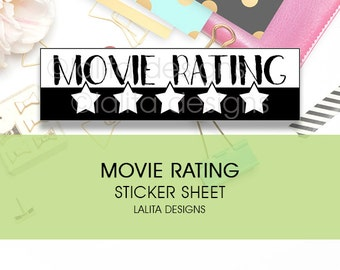 Movie Rating Stickers for use with Erin Condren Happy Planner Midori Notebooks Kikki K Printable
