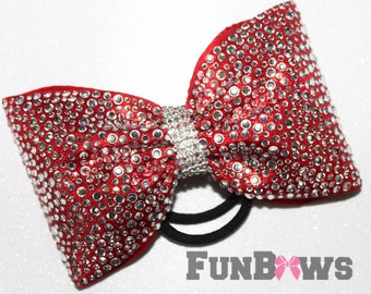 Gorgeous  LARGE Red Tailless  rhinestone Allstar cheer bow  by Funbows !