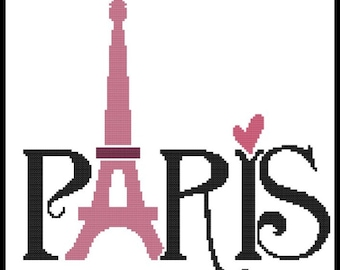 Eiffel Tower Counted Cross Stitch Pattern PDF Chart Instant Download Black Silhouette Pattern