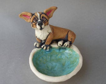 Corgi Ceramic Dog Sculpture Dish