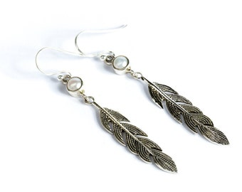 Sterling Silver Feather Earrings With Fresh Water Pearl Gemstone  Free UK Delivery Gift Boxed
