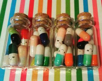 Happy Little Pills - Message Pills - Bottle - Mini - Gift - Stocking Filler - Stuffer - Self Care - Kawaii - Rainbow - Alice in Wondeland