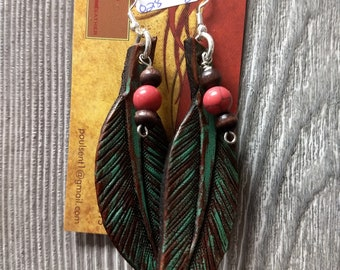 Leather feather hand tooled custom jewelery