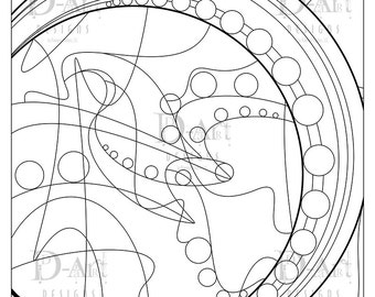 Circles and Lines Coloring Page Adult Coloring Page Cross