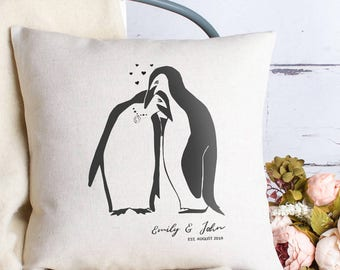 Personalised Love Penguins Cushion Pillow Cover With Names Date and Heart, Wedding Anniversary Gift for Couples