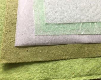 Full sheets Bright Greens & Whites mixed paper, sample pack, Japanese tissue, green assorted papers, fuchsia pink paper, nepalese lokta,