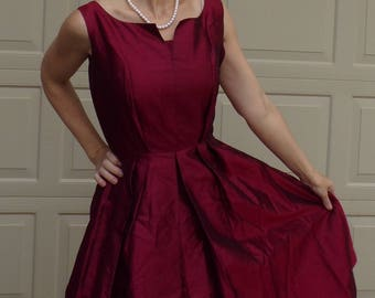 CLARET TAFFETA party DRESS 1950's 1960's S