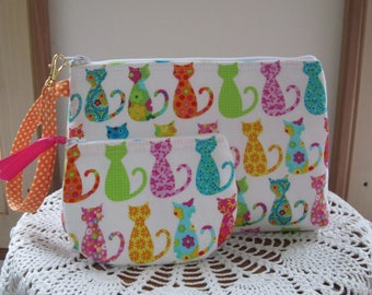 Cat Handbag, Smart phone Case, Gadget Pouch, Cat Clutch, Wristlet Zipper Gadget Pouch, Bag  Made in USA Set Colorful Cats