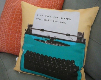Personalized Pillow- Typewriter Pillow - Christmas Present - Pillow Cover - Decorative Pillow -  Customize - Message - For Him - Fathers Day