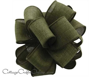 "Fall Wired Ribbon, 2 1/2"", Moss Green Faux Linen - THREE YARDS  - Offray ""Divine"" Thanksgiving, Wedding Ribbon, Wire Edged Ribbon"
