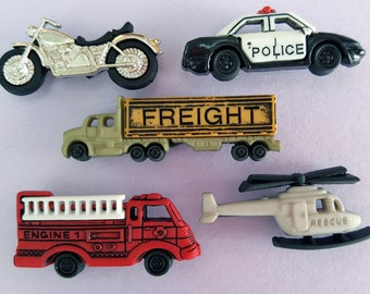READY TO ROLL Motorbike Rescue Helicopter Police Car Fire Engine Dress It Up Buttons