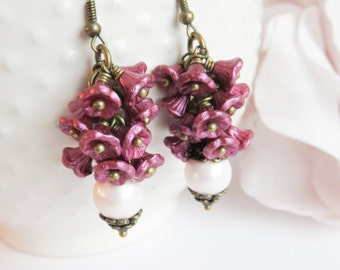 Purple cluster earrings, vintage style pearl earrings, purple jewelry, gift for her, dangle and drop, aubergine earrings, romantic jewelry