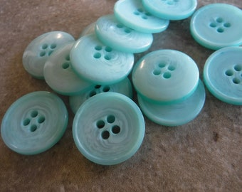 "14 Mint Green Circle Swirl Buttons Size 3/4"""