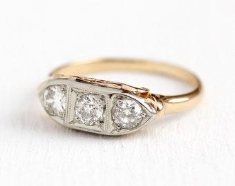 Vintage Diamond Ring - 1930s 14k Yellow & White Gold .47 CTW Anniversary Band - Art Deco Size 6 1/4 Engagement Wedding Appraisal Jewelry