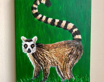 Original Lemur Painting - Molding Paste, Acrylic Paint, and Gloss Medium with Metallic Paint Details - From the Endangered Species Series