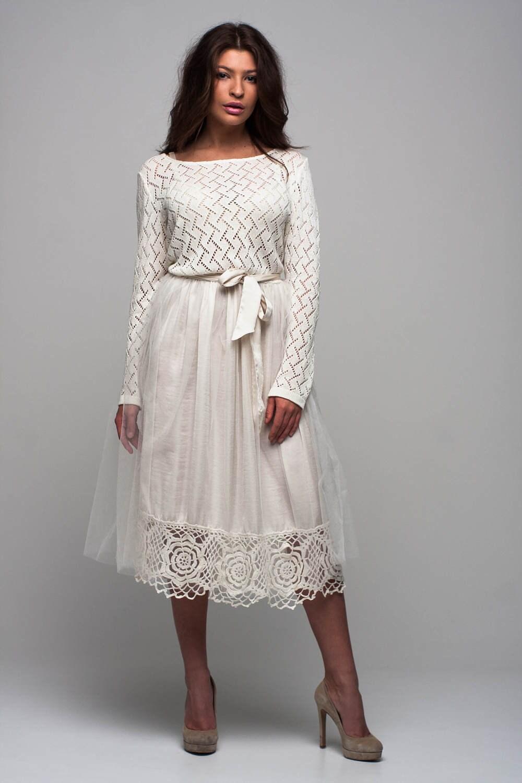 Tüll Tutu weißen Kleid Plissee Brautkleid stricken