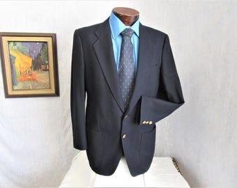 80s 40 Tall Sedgewick Wool Flannel Men's Sportscoat Jacket Navy Blue
