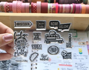 Taco Lover 3X4 Photopolymer stamp set/Planner Accessories: Erin Condren, Filofax, planners