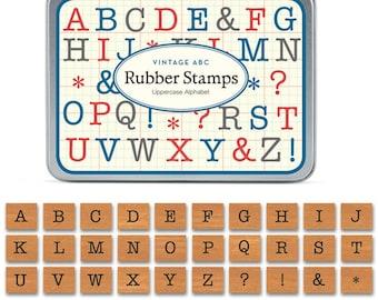Cavallini Mini Alphabet Stamp Uppercase x 30 Vintage Rubber Stamps - LLSTSETABCUC