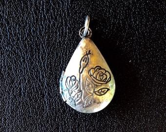 Dirty silver rose locket pendant