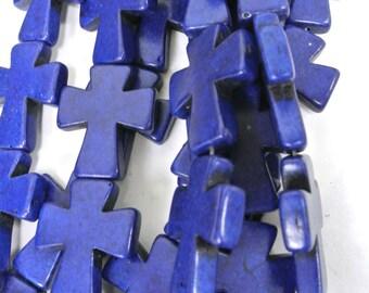 "Blue Cross Beads, Large Crosses, 35x30mm Magnesite Crosses, Howlite Crosses, 16"" Strand, 11 PCS, Cross Jewelry, Wholesale Beads"