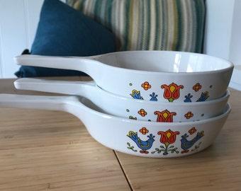Friendship Pattern Corning Ware Ceramic Bakeware Set Of 3 Country Festival