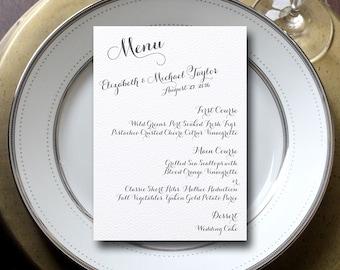 Calligraphy Wedding Menu, Modern Wedding Menu, Grey Wedding Menu {set of 25}
