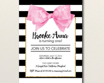 First Birthday Invitation, Girl, First Birthday Invite, Printable, DIY, Floral, Watercolor, Birthday Party Invitation, Baby Shower, Bow