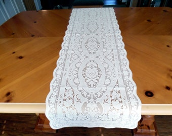 Vintage Quake Lace Buffet Table Runner New Old Stock  White House Pattern Size  15 X 54 Inches ECS SVFT