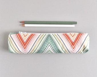 Small Pastel Chevron Pencil Pouch Skinny Pencil Case Cute Pencil Case Geometric Purse Organizer