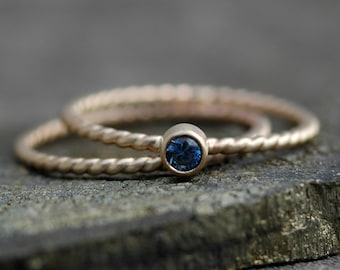 Blue Montana Sapphire in 14k Yellow Gold September Engagement Ring and Wedding Band- Twist Rope Band Ready to Ship