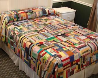 Oversize full Scrap Rag-bag colorful quilt top